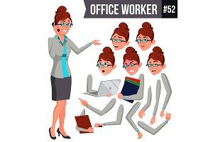 Office Worker Vector. Woman. Happy