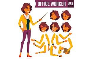 Office Worker Vector. Woman