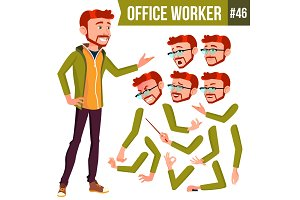 Office Worker Vector. Red Head. Face