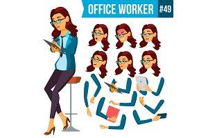 Office Worker Vector.Woman