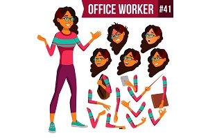 Office Worker Vector. Arab, Saudi