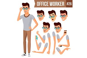 Office Worker Vector. Animation