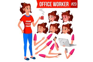 Office Worker Vector. Woman. Face