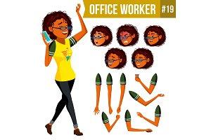 Office Worker Vector. Woman. Modern