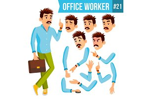 Office Worker Vector. Emotions