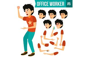 Office Worker Vector. Face Emotions
