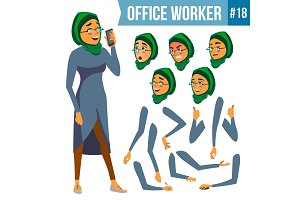 Office Worker Vector. Woman. Smiling