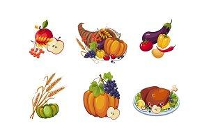 Autumn symbols, collection of