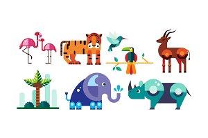 Cute polygonal African animals set