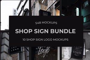 10 x Shop Sign Logo Mockups
