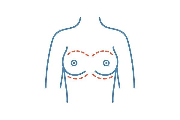 Breast augmentation color icon