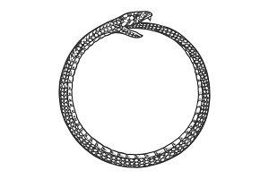 Snake bites itself engraving vector