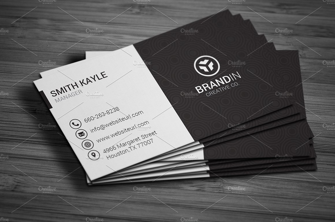Simple black white business card business card templates simple black white business card business card templates creative market reheart Images