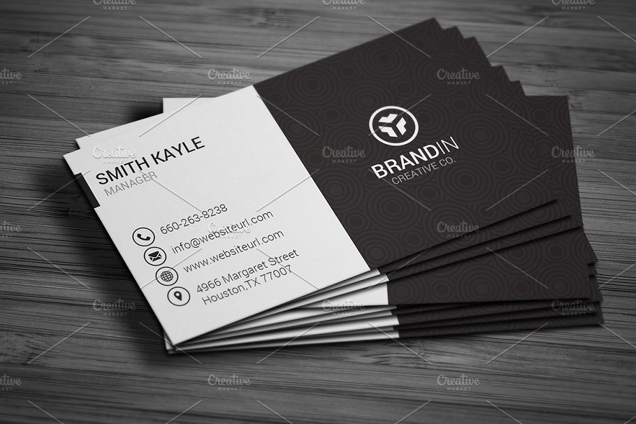 Simple black white business card business card templates previous wajeb Choice Image