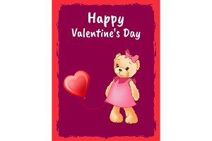Happy Valentines Day Postcard with