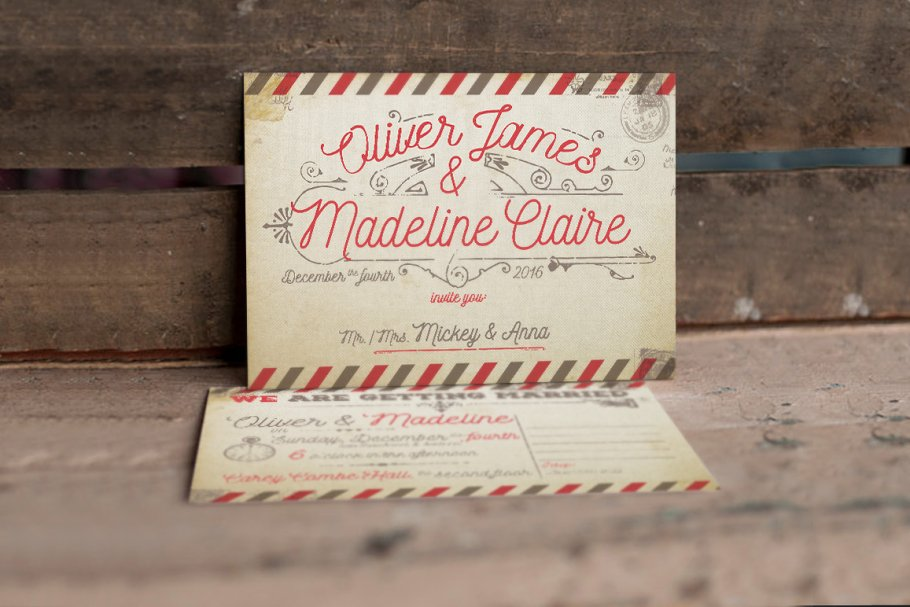 Vintage Airmail Wedding Suite Templates Creative Market