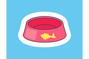 Card with Pink Bowl For Pets Vector