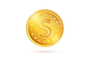 Golden Coin Dollar Sign Vector