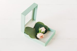 small roses and stylish mint present