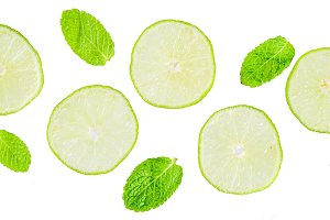 Fresh lime and mint on white