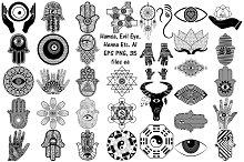 Hamsa, Evil Eye, Henna AI EPS PNG