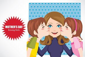 Mother's Day Kissing Kids
