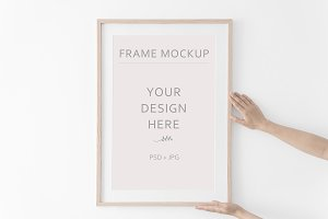 Wooden Frame Mockup with mat.PSD+JPG