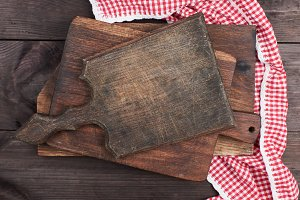 old wooden kitchen chopping boards