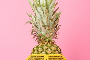 funny sweet pineapple in sunglasses