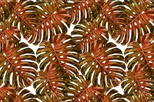 Tropical Leaves - Seamless Pattern