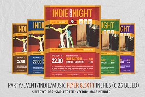 Party Indie Flyer in 5 colors