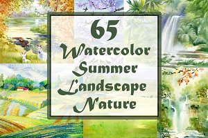Watercolor summer landscape — Nature