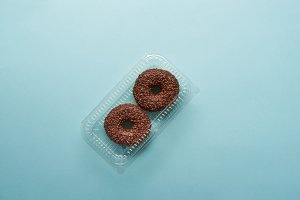 top view of tasty chocolate donuts o