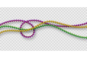 Mardi Gras beads in traditional