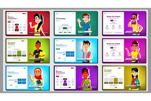 Self Presentation Banner Set Vector
