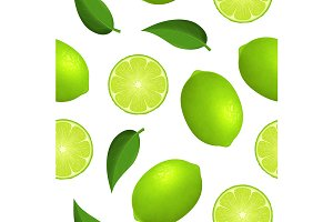 Lime and Slice Seamless Pattern