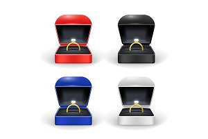 Gold Ring Box Color Set. Vector