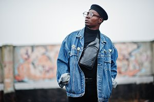 African american man in jeans jacket