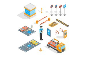 Parking Signs 3d Set Isometric View.