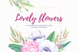 Lovely flowers. Watercolor set