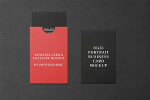 85x55 Portrait Business Card Mockup