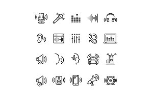 Sound Wave Black Thin Line Icons