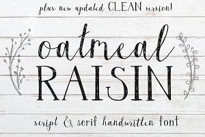 Oatmeal Raisin Font Duo + Graphics