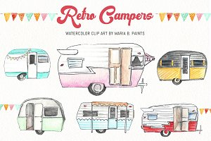 Watercolor Clip Art - Campers