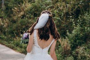Elegant back of wedding dress