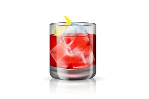 Old-fashioned cocktail isolated on
