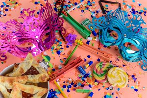 Purim with carnival mask, party cost