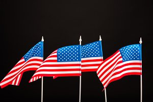 background of american flags isolate