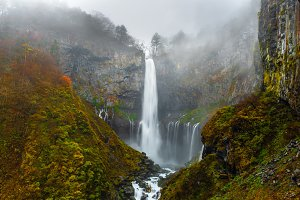 landscape with waterfall, Japan