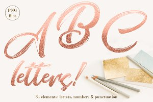 Rose gold letters - ombre glitter